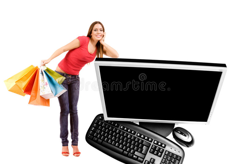 Internet shopping. Concept by woman lean on computer