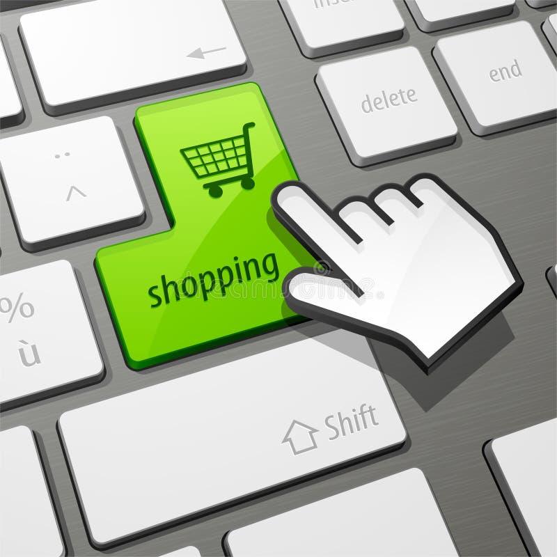 Internet shopping concept. Illustration of cursor hand over green shopping cart button on internet keyboard; shopping concept stock illustration