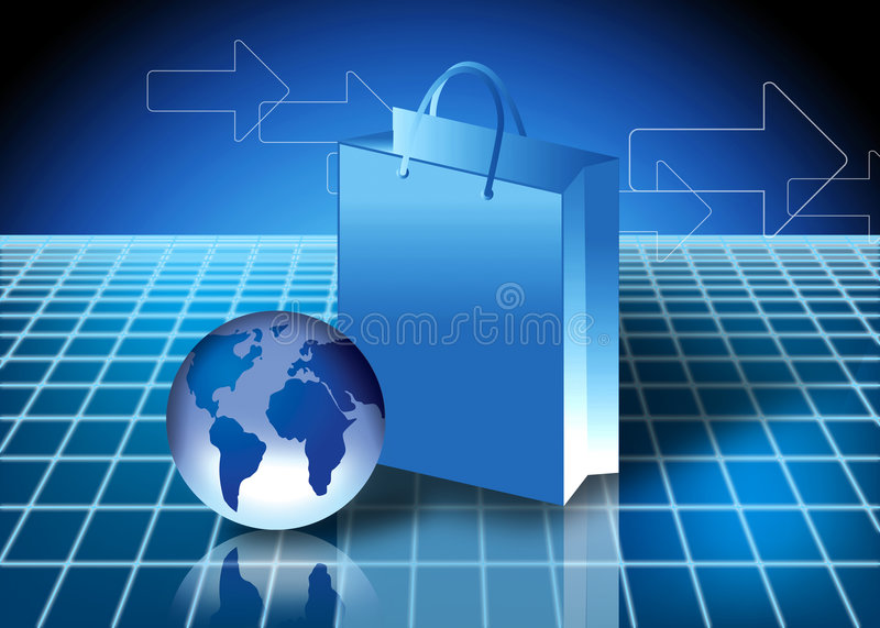 Internet shopping concept. Online shopping Concept with globe and shopping bag