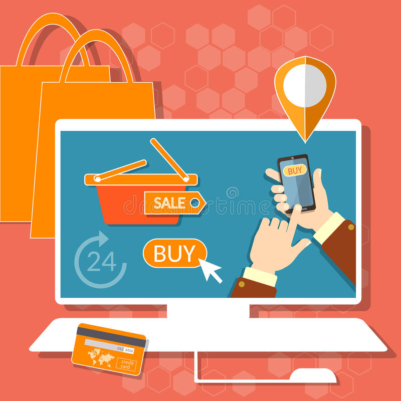 Internet shopping credit or debit plastic card shopping bags royalty free illustration
