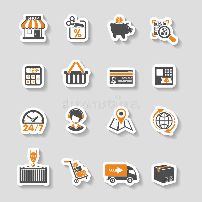 Internet Shopping and Delivery Sticker Icon Set. Internet Shopping, Delivery and Cargo Sticker Icon Set for e-commerce in two color royalty free illustration