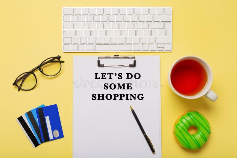 Internet shopping flatlay concept stock photos