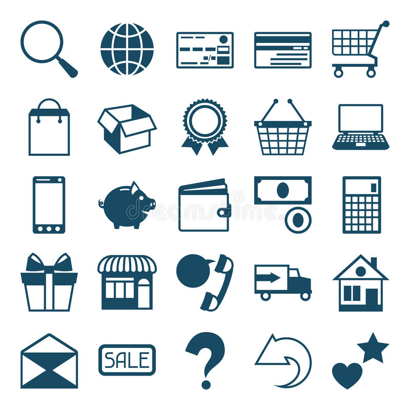 Internet shopping icon set in flat design style vector illustration