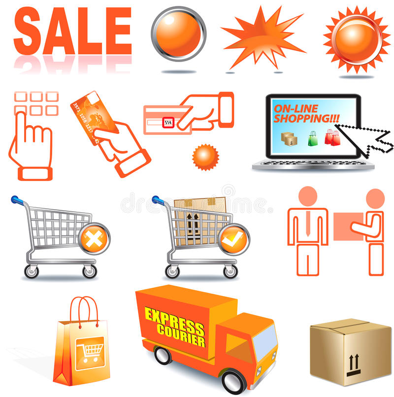 Internet Shopping. This illustration is of internet shopping icons vector illustration