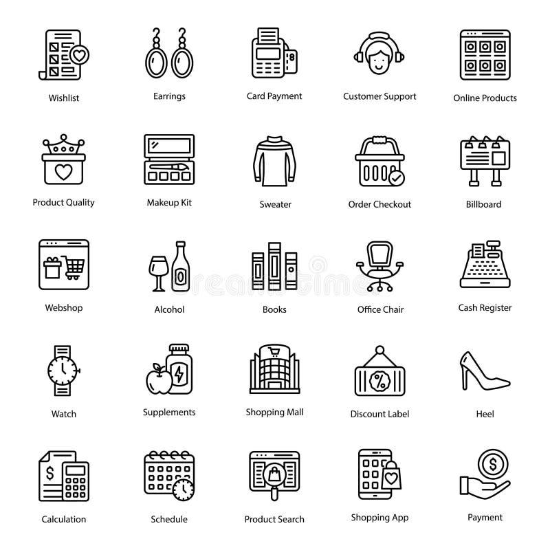 Internet Shopping Line Vectors Pack stock illustration