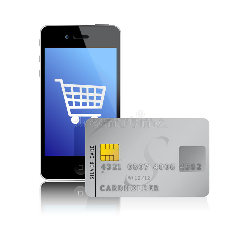 Internet shopping with smart phone and credit card royalty free illustration
