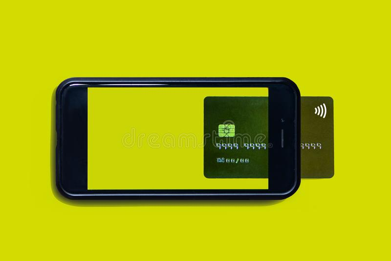 Internet shopping with smartphone and credit card. Smartphone like mobile wallet. stock photos