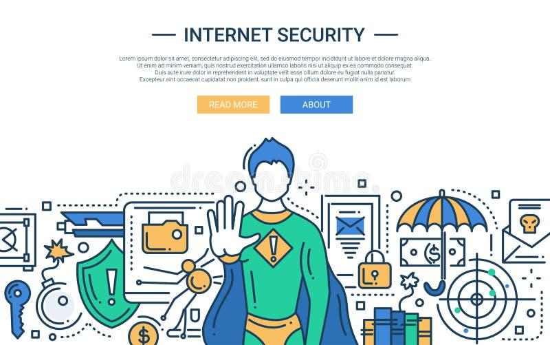 Internet-Sicherheit - Linie Designwebsitefahne stock abbildung