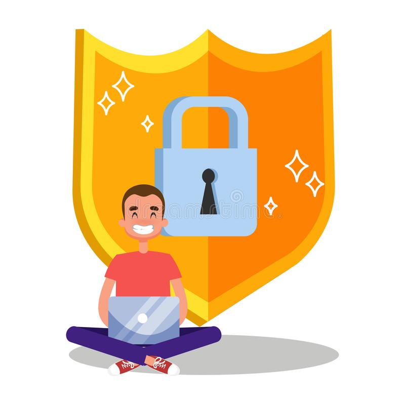 Internet-Sicherheit und Datenschutzkonzeptillustration lizenzfreie abbildung