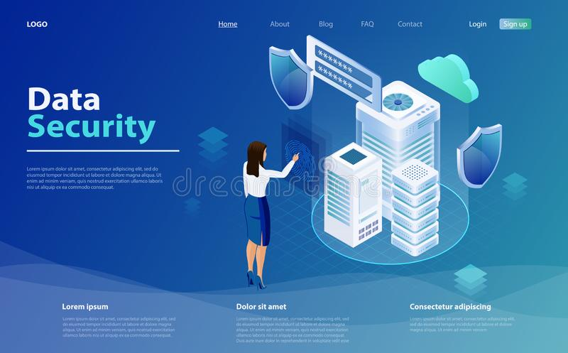 Internet-Sicherheitsschild-Geschäftskonzept Schablonen cybersecurity Isometrisches Konzept der Datensicherheit lizenzfreie abbildung