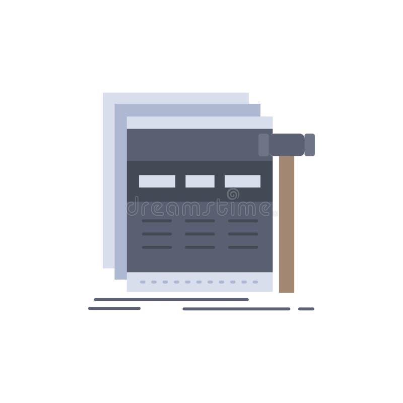 Internet sida, rengöringsduk, webpage, för färgsymbol för wireframe plan vektor stock illustrationer