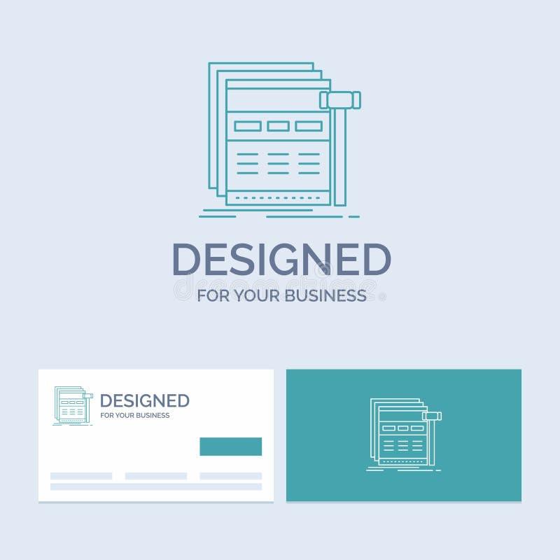 Internet sida, rengöringsduk, webpage, wireframeaffär Logo Line Icon Symbol för din affär Turkosaff?rskort med m?rkeslogo royaltyfri illustrationer