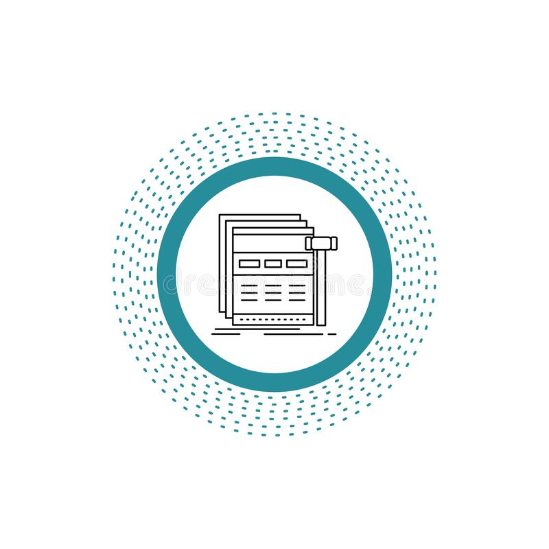Internet sida, rengöringsduk, webpage, wireframelinje symbol Vektor isolerad illustration stock illustrationer