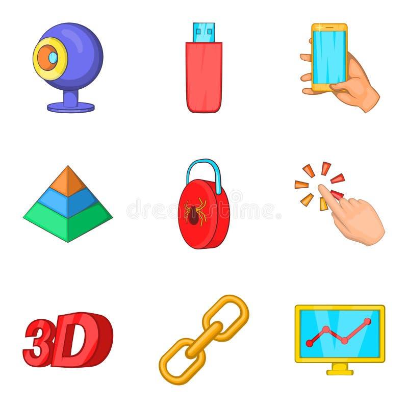 Internet site icons set, cartoon style stock illustration