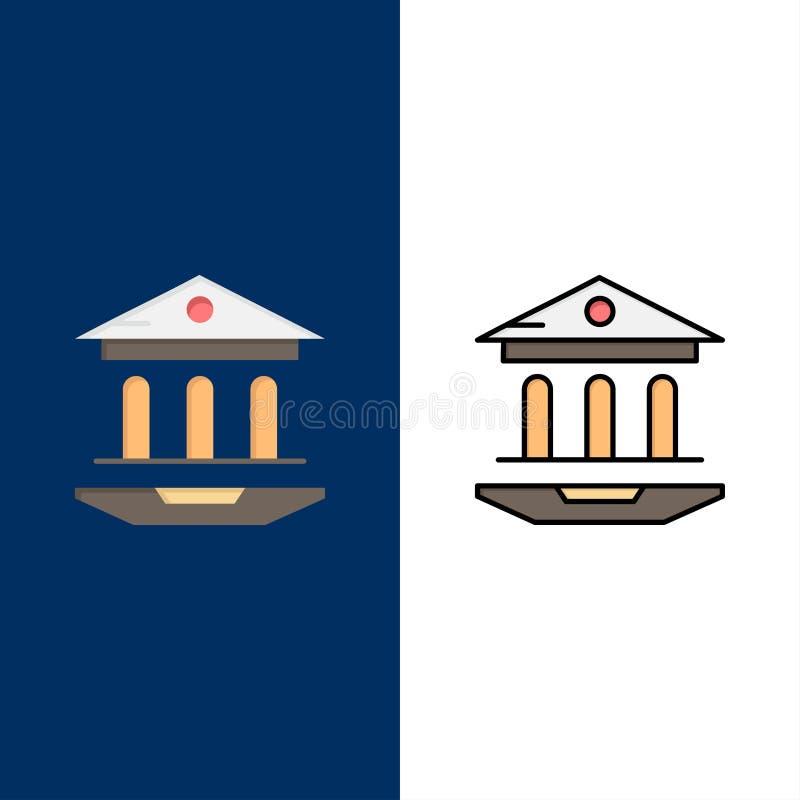 Internet skola, rengöringsduk, utbildningssymboler Lägenheten och linjen fylld symbol ställde in blå bakgrund för vektorn royaltyfri illustrationer