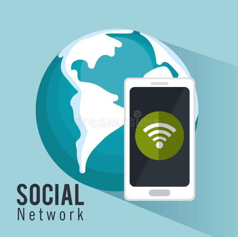 Internet social global do smartphone do metwork ilustração stock