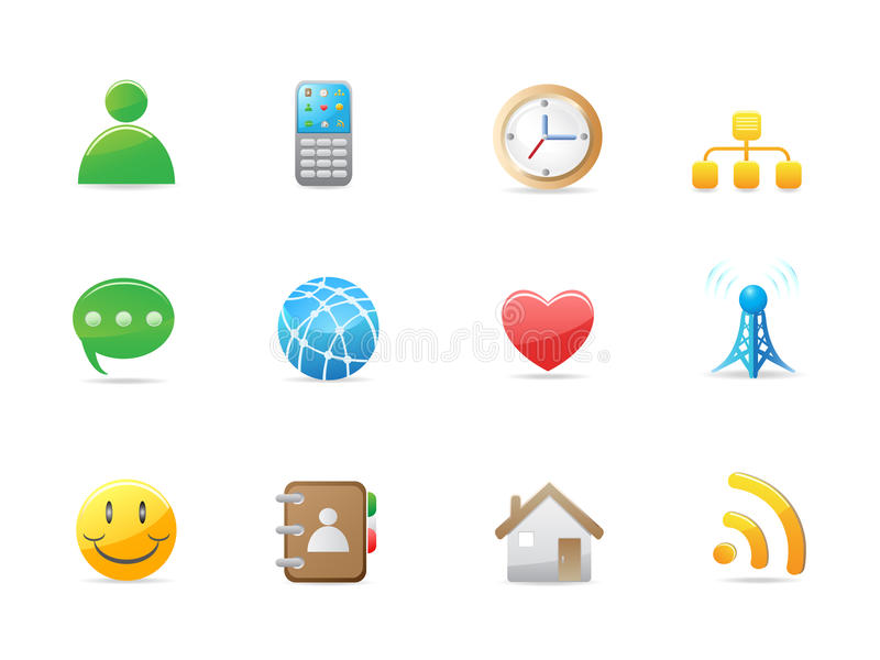 Internet social icon set. For design vector illustration