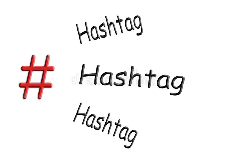 Internet and Social Media Topic Hashtag. Internet and social media-trend theme Hashtag sign on white background with caption Hashtag royalty free stock image