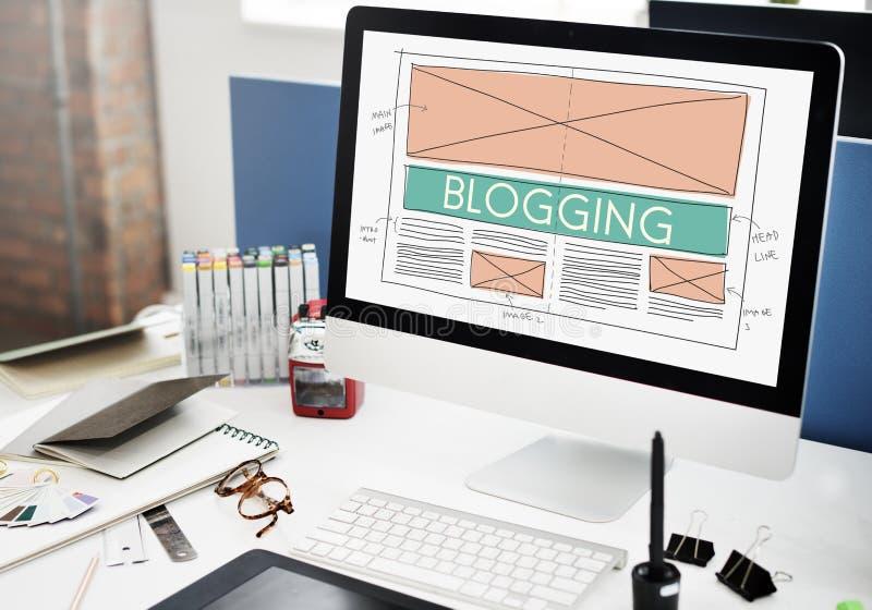 Internet sociale della rete di media del blog di blogging che collega Concep fotografia stock libera da diritti