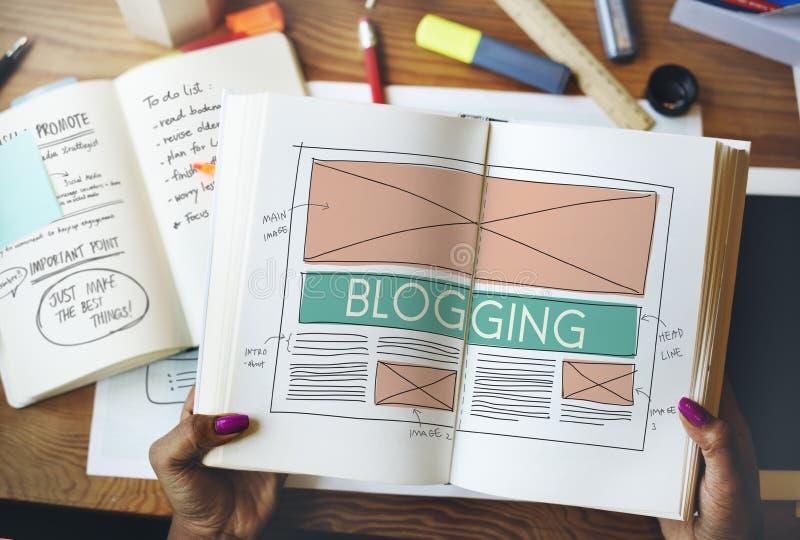 Internet sociale della rete di media del blog di blogging che collega Concep immagine stock