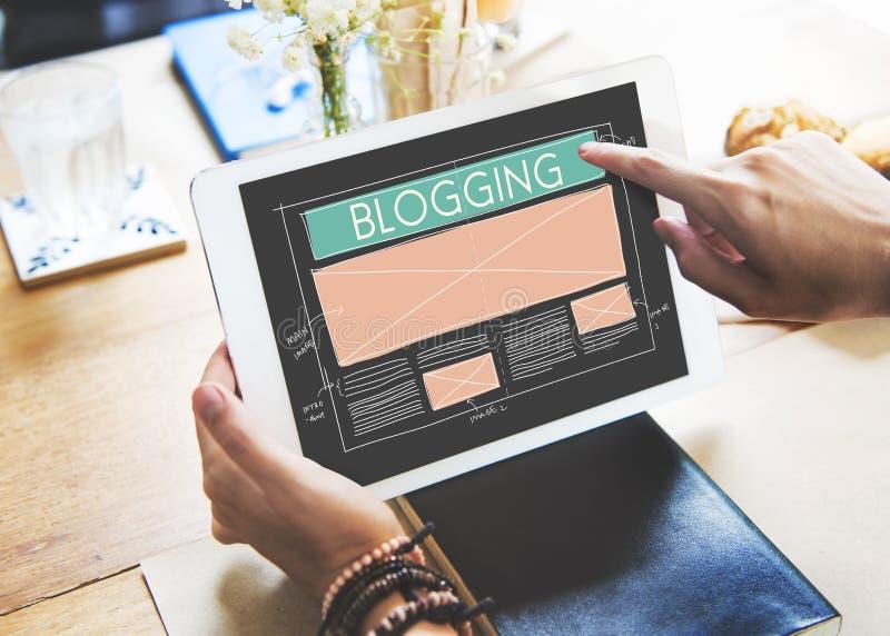 Internet sociale della rete di media del blog di blogging che collega Concep immagini stock libere da diritti