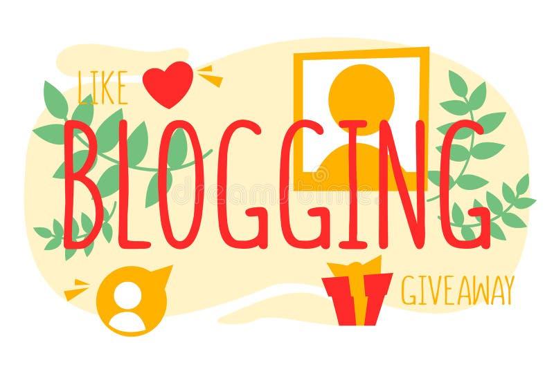 Internet som blogging Online-annonsering och digitalt innehåll stock illustrationer