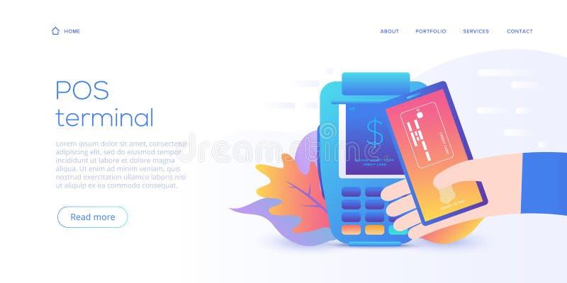 Internet som packar ihop begrepp i plan vektordesign Digital betalning eller online-service för pengaröverföring Pos.-lön med den vektor illustrationer