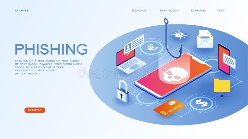 Internet som phishing stock illustrationer
