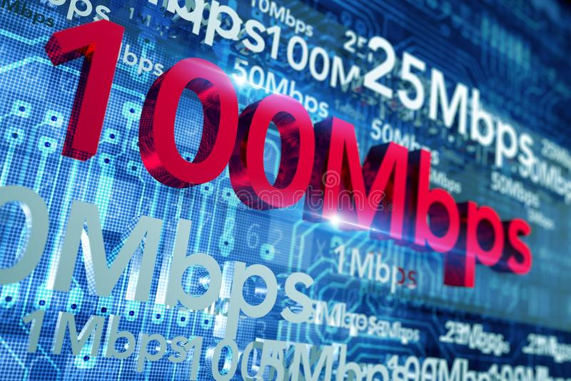 Internet Speed Concept. Illustration. Global Broadband Networks Speed 3D illustration vector illustration