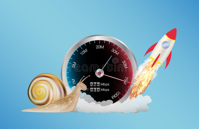 Internet speed meter with rocket and snail stock illustration