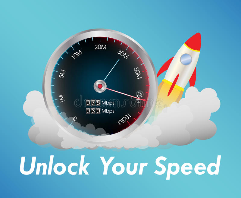 Internet speed test meter with rocket royalty free stock images