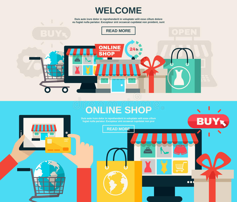 Internet store flat banner set stock vector illustration for Design on line outlet