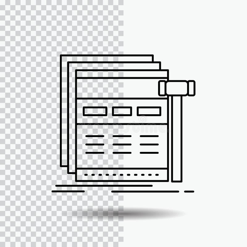 Internet, strona, sieć, webpage, wireframe Kreskowa ikona na Przejrzystym tle Czarna ikona wektoru ilustracja ilustracji