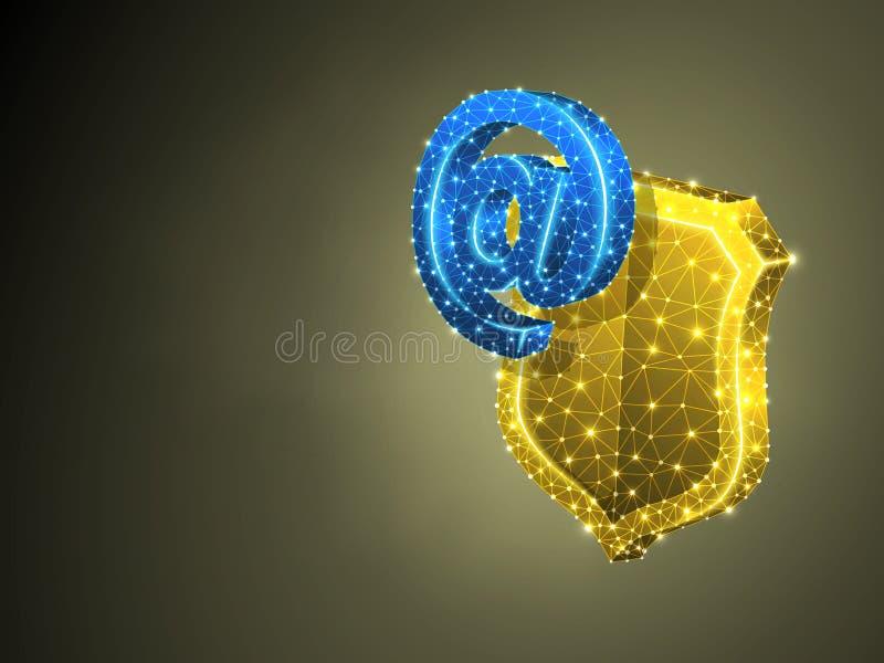 Internet sullo schermo di sicurezza, 3d variopinto astratto Email poligonale di affari di vettore, concetto di protezione di web  illustrazione vettoriale