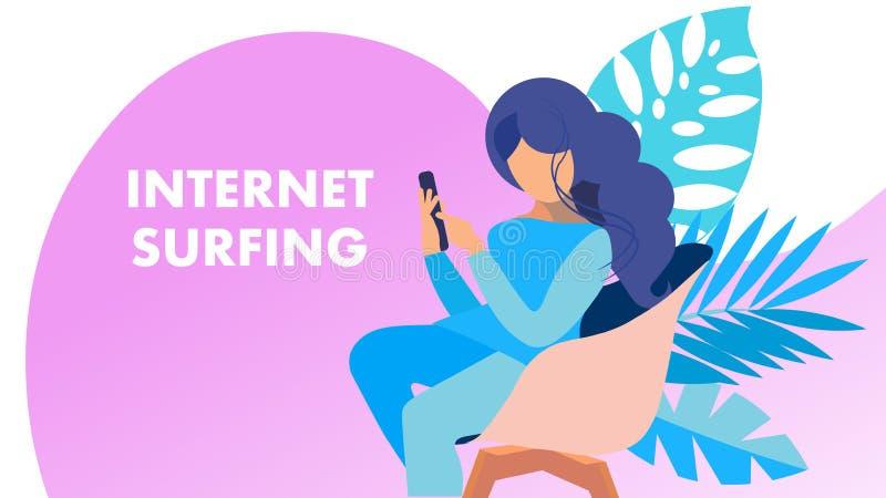 Internet-Surfen, Vektor-Fahnen-Konzept suchend lizenzfreie abbildung