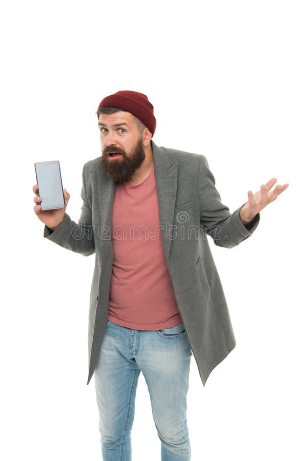Internet surfing social networks with smartphone. Man with smartphone. Modern life demands modern gadgets. Mobile stock photography