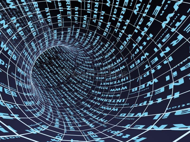 Internet-Symbol - abstrakter blauer Tunnel 3d lizenzfreie abbildung