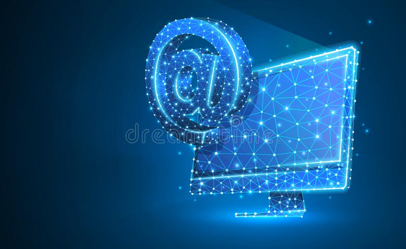Internet AT symbol monitor screen. Device, e-mail, mailing, communication concept. Abstract, digital, wireframe, low. Poly mesh, vector blue neon 3d vector illustration