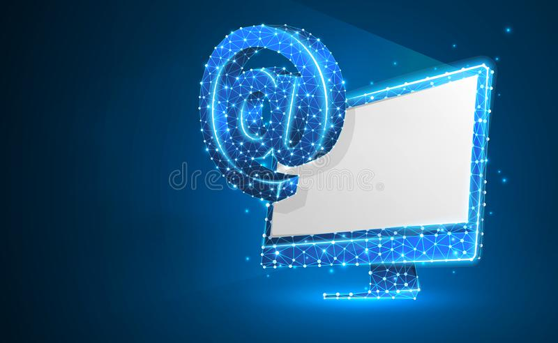 Internet AT symbol on white monitor screen. Device, e-mail, mailing, communication concept. Abstract, digital, wireframe. Low poly mesh, vector blue neon 3d vector illustration