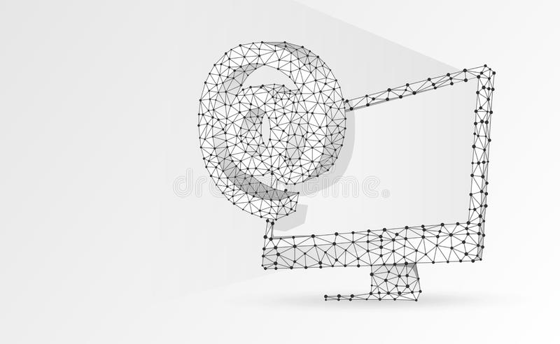 Internet AT symbol on white monitor screen. Device, e-mail, mailing, communication concept. Abstract, digital, wireframe. Low poly mesh, vector white origami royalty free illustration