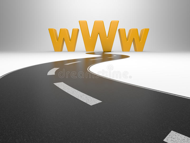 Download Internet Symbol Www And A Long Road Stock Illustration - Image: 28847599