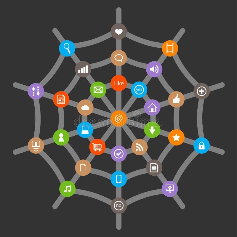 Download Internet symbols in web stock vector. Image of spiderweb - 24987063