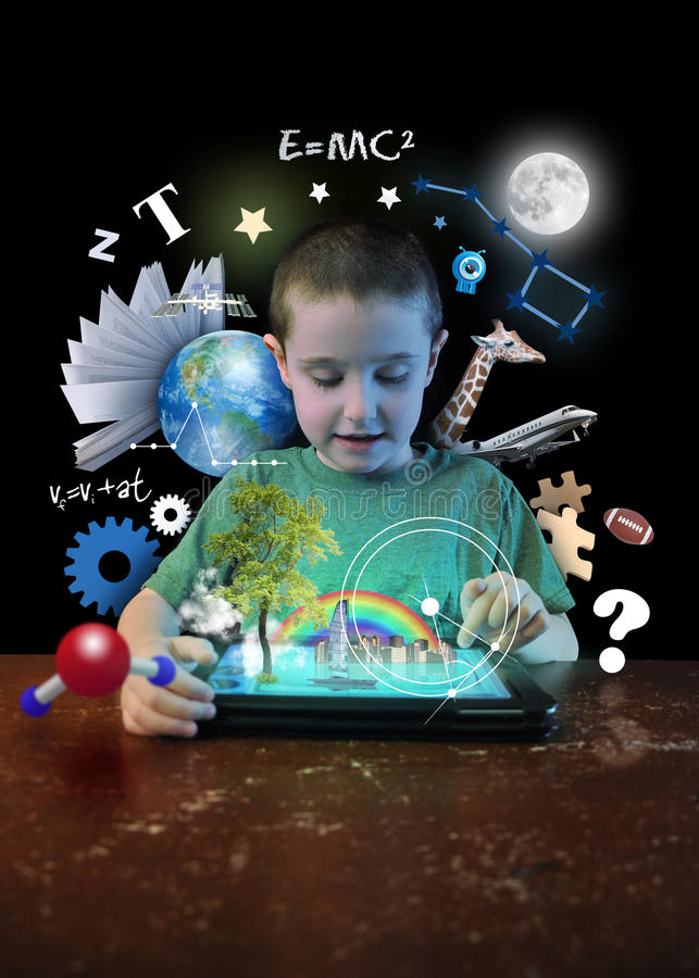 Internet Tablet Boy with Learning Tools. A young boy child is looking at a computer tablet with math, science and animals around him on a black background for a