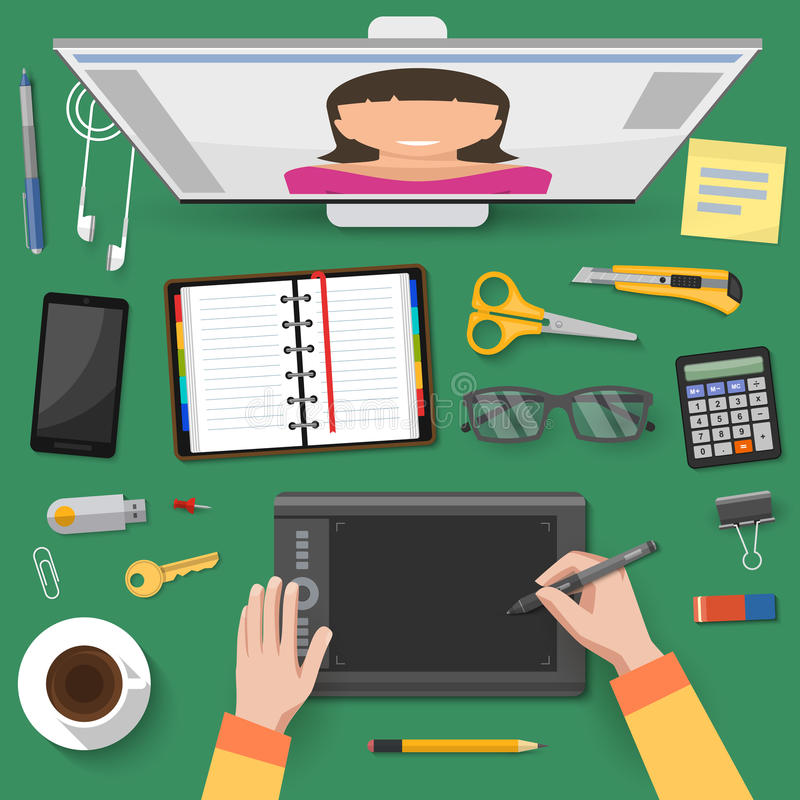 Internet Talks At Workplace Top View. With hands of worker screen stationery on green background vector illustration stock illustration
