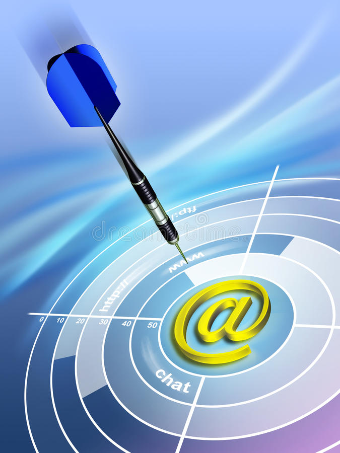 Internet target. Internet concept showing a dart and an e-mail symbol. Digital illustration vector illustration