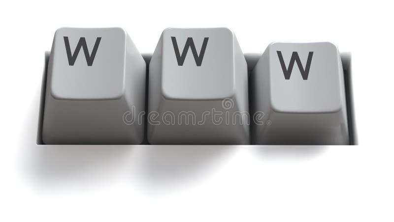 Internet-Tasten/WWW/getrennt stock abbildung