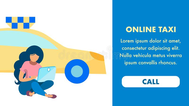 Internet Taxi Service Landing Page Vector Template royalty free illustration