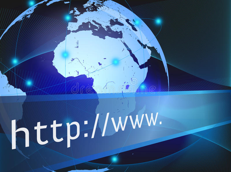 Internet technology. Abstract internet address is popping out with a globe and binary code royalty free illustration