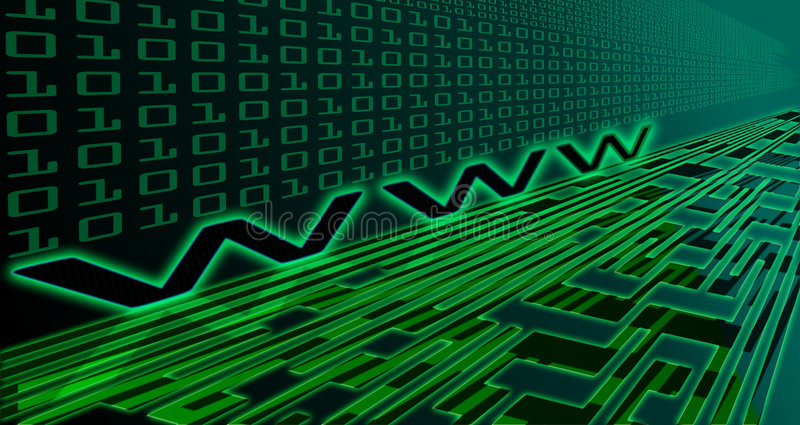 Internet technology. Concept - binary numbers with www sign stock illustration