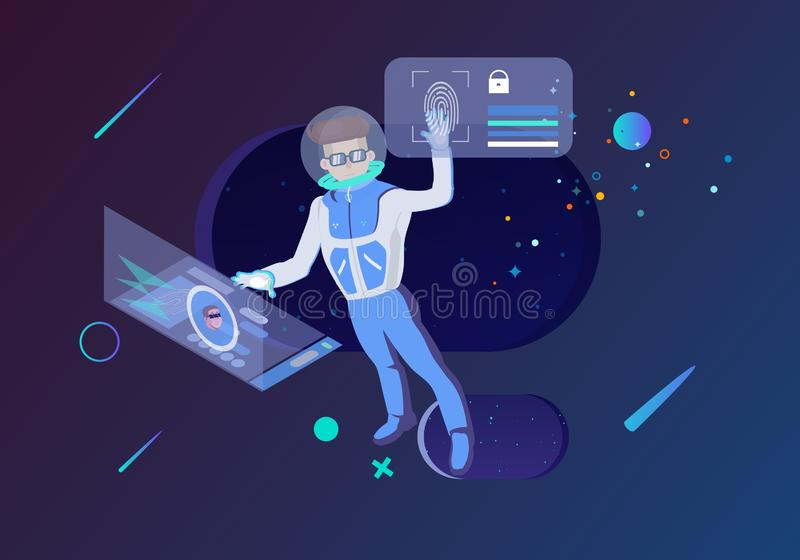 Internet technology business in space illustration.  royalty free illustration